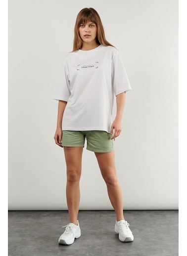 Levure Oversize Baskılı T-Shirt Beyaz